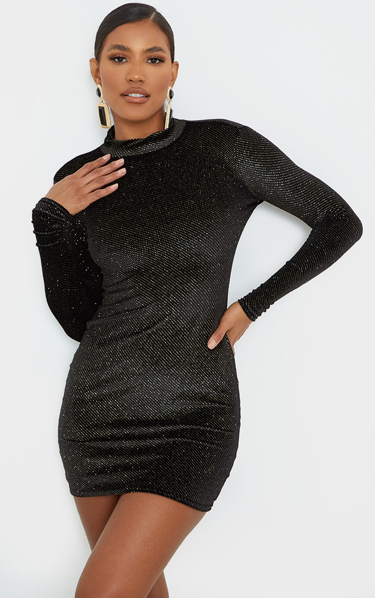 Black Velvet Glitter Neck Long Sleeve Thumb Hole Bodycon Dress 1