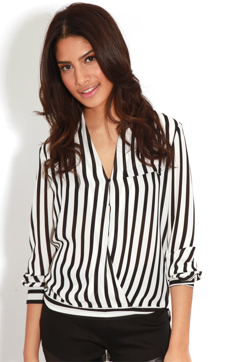 Rosie Monochrome Striped Cross-Over Blouse 1