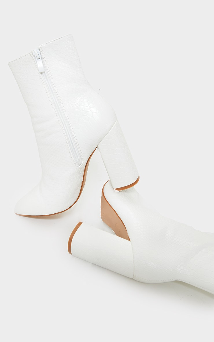 White Faux Snake Ankle Boot 1