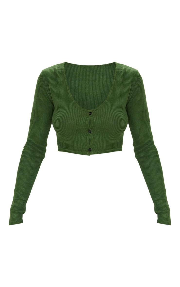 Olive Khaki Brushed Rib Button Up Long Sleeve Crop Top 3
