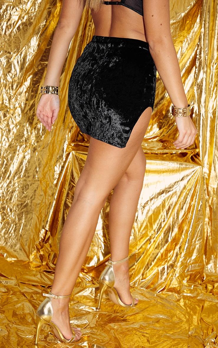 Mini-jupe en velours côtelé noir à détail fendu 4