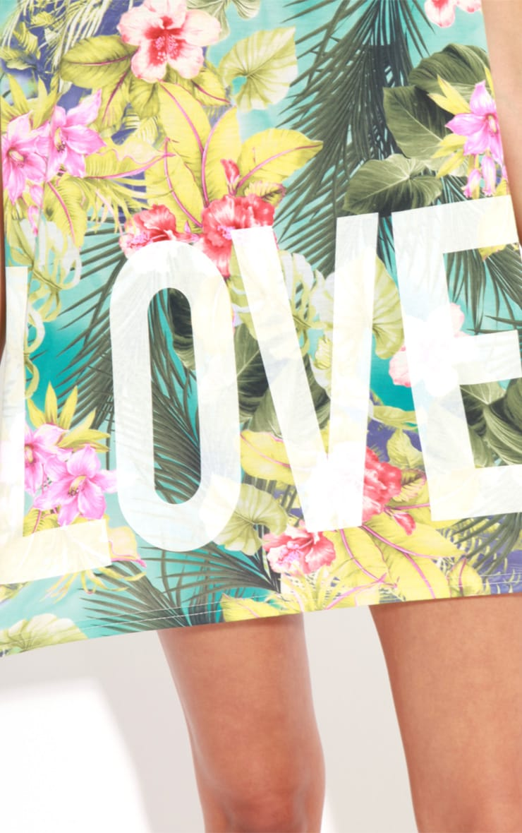 Makayla Turquoise Floral Love Life Sports Tee 5