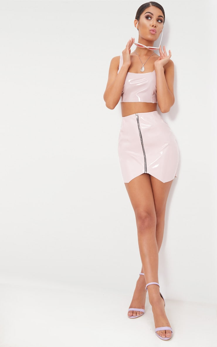 Pale Pink Zip Front Vinyl Mini Skirt 5