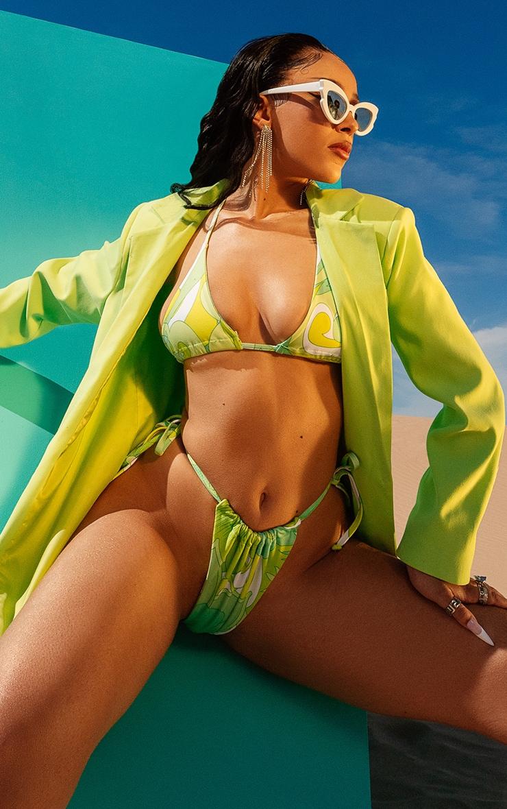 Lime Floral Tie Bikini Bottoms 1