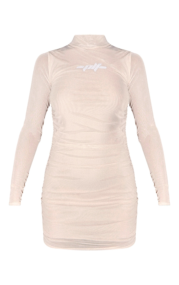 PRETTYLITTLETHING Nude Slogan Mesh Ruched Bodycon Dress 6