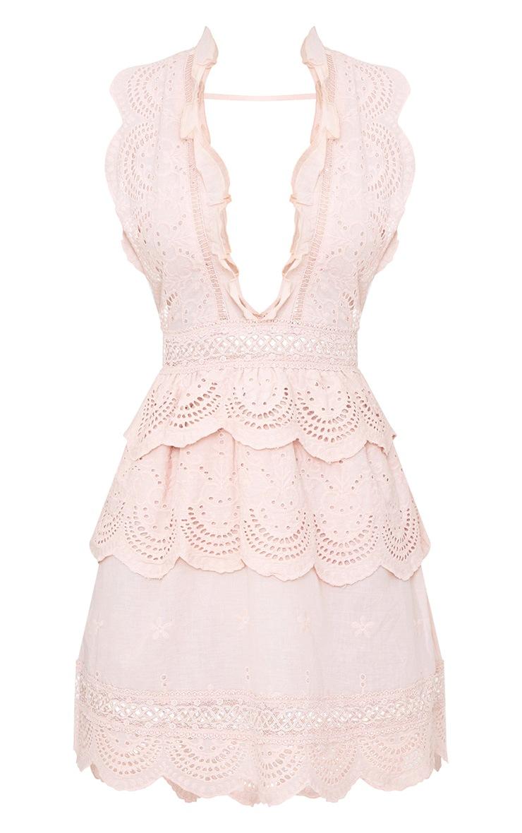 Dusty Pink Crochet Lace Plunge Swing Dress 3