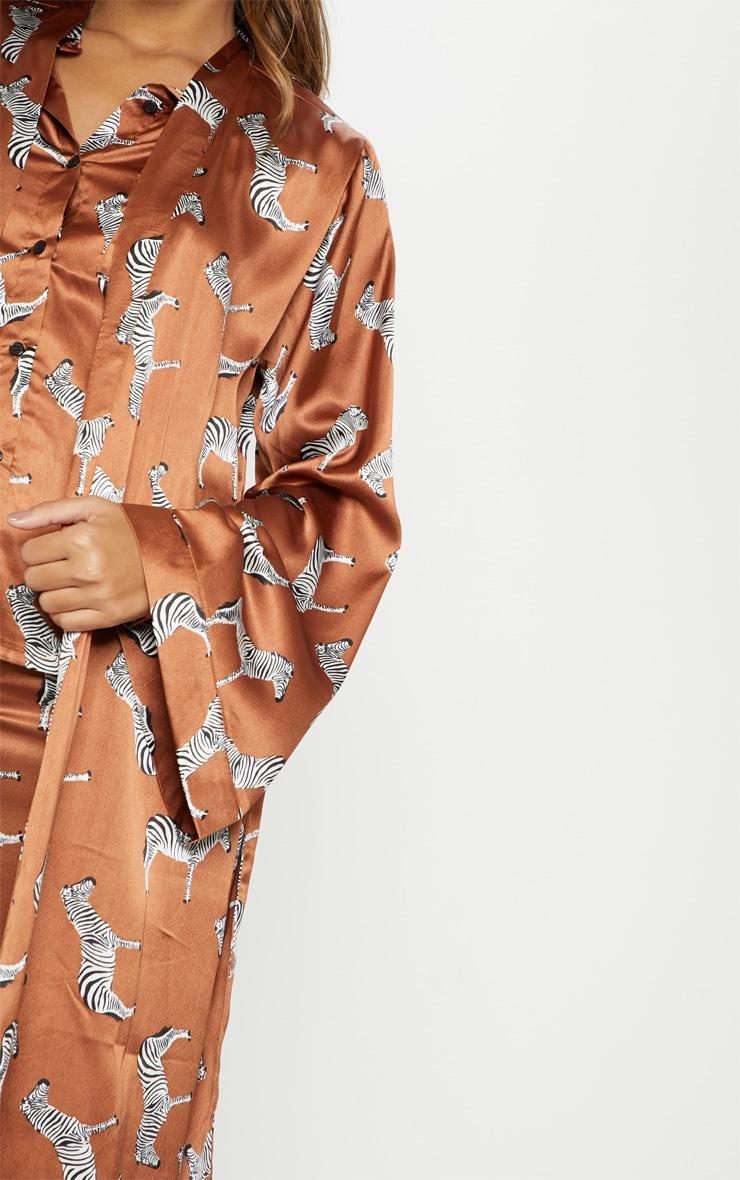 Rust Zebra Print Long Sleeve Satin Robe 5