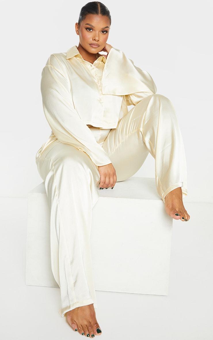Plus Cream Cropped Long Sleeve Trousers Satin PJ Set 1