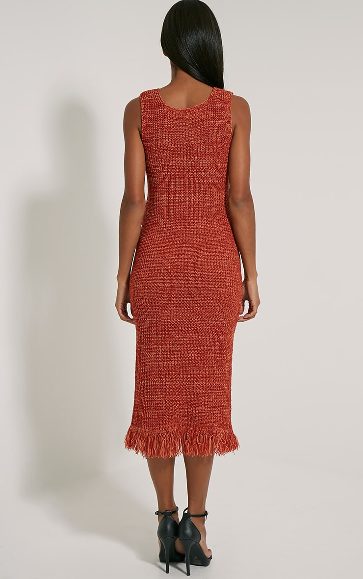 Poesy Rust Knitted Tassel Dress 2