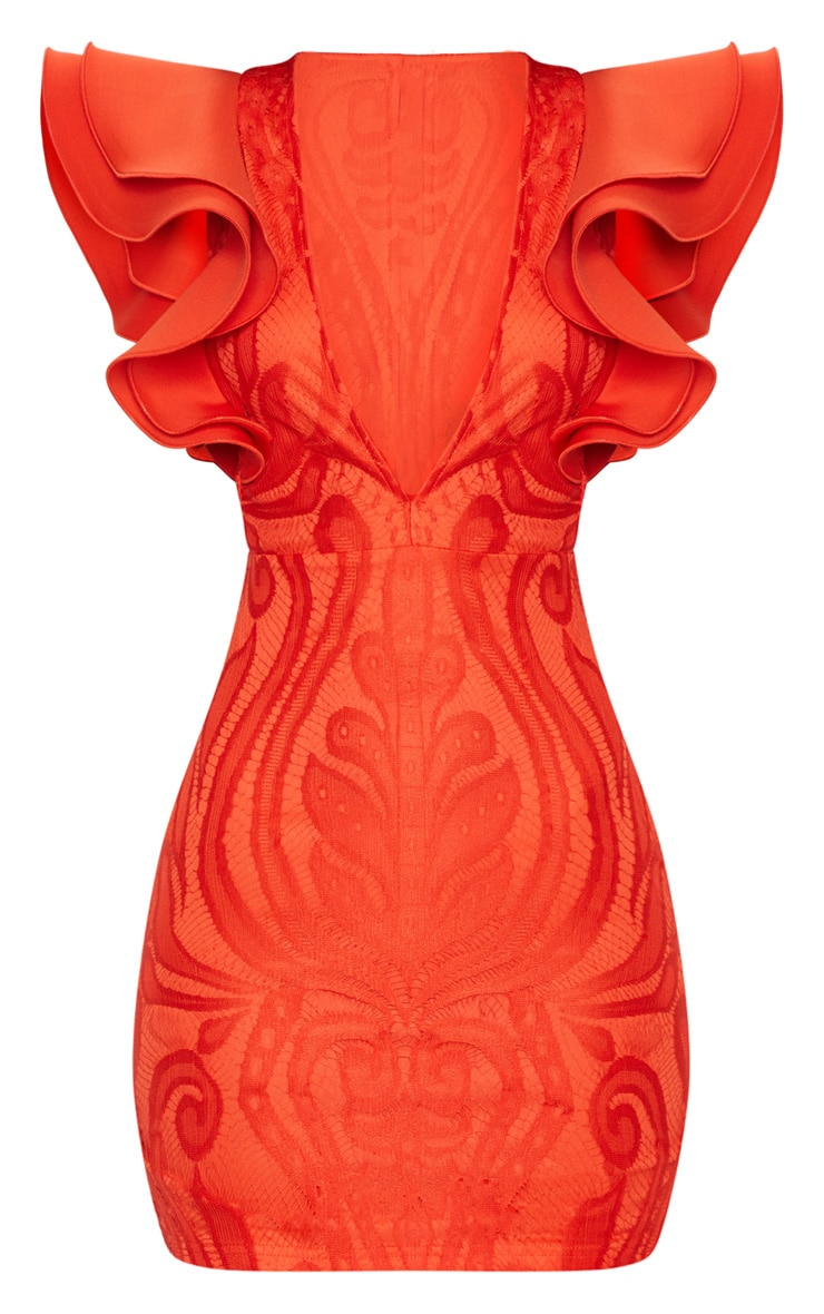Red Lace Ruffle Detail Plunge Bodycon Dress 3