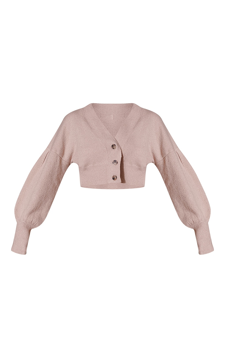 Camel Balloon Sleeve Crop Cardigan 5