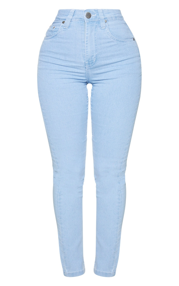 Shape Light Blue Wash High Waist Straight Leg Jeans 5
