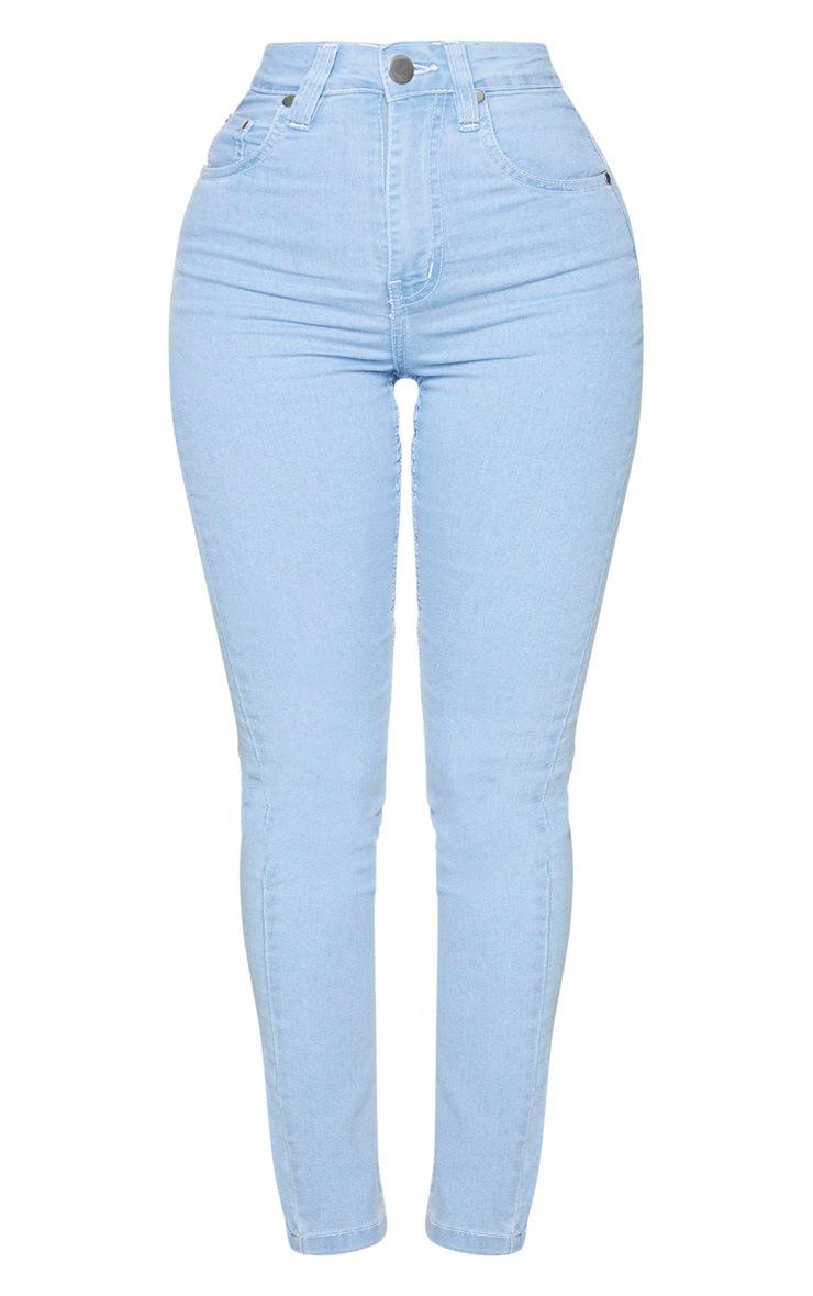 Shape Light Blue Wash High Waist Straight Leg Jeans 5
