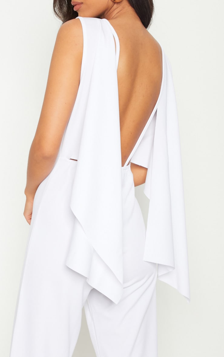 White Crepe Cape Low Back  Detail Jumpsuit  5