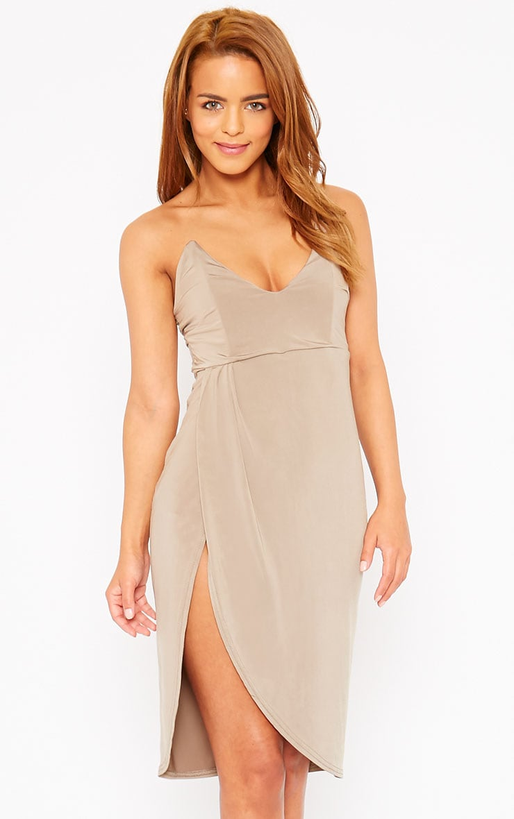 Chelsea Mocha Slinky Strapless Split Front Mini Dress 1