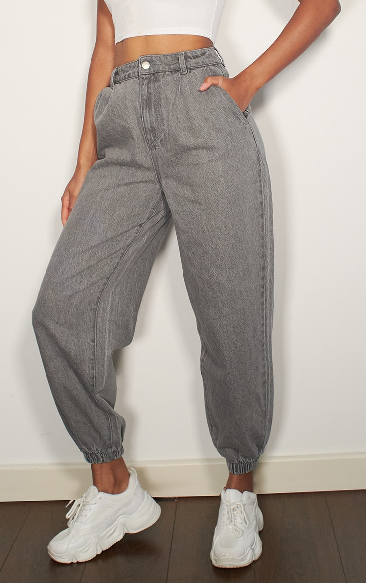Washed Grey Cuffed Extreme Jogger Jeans 2