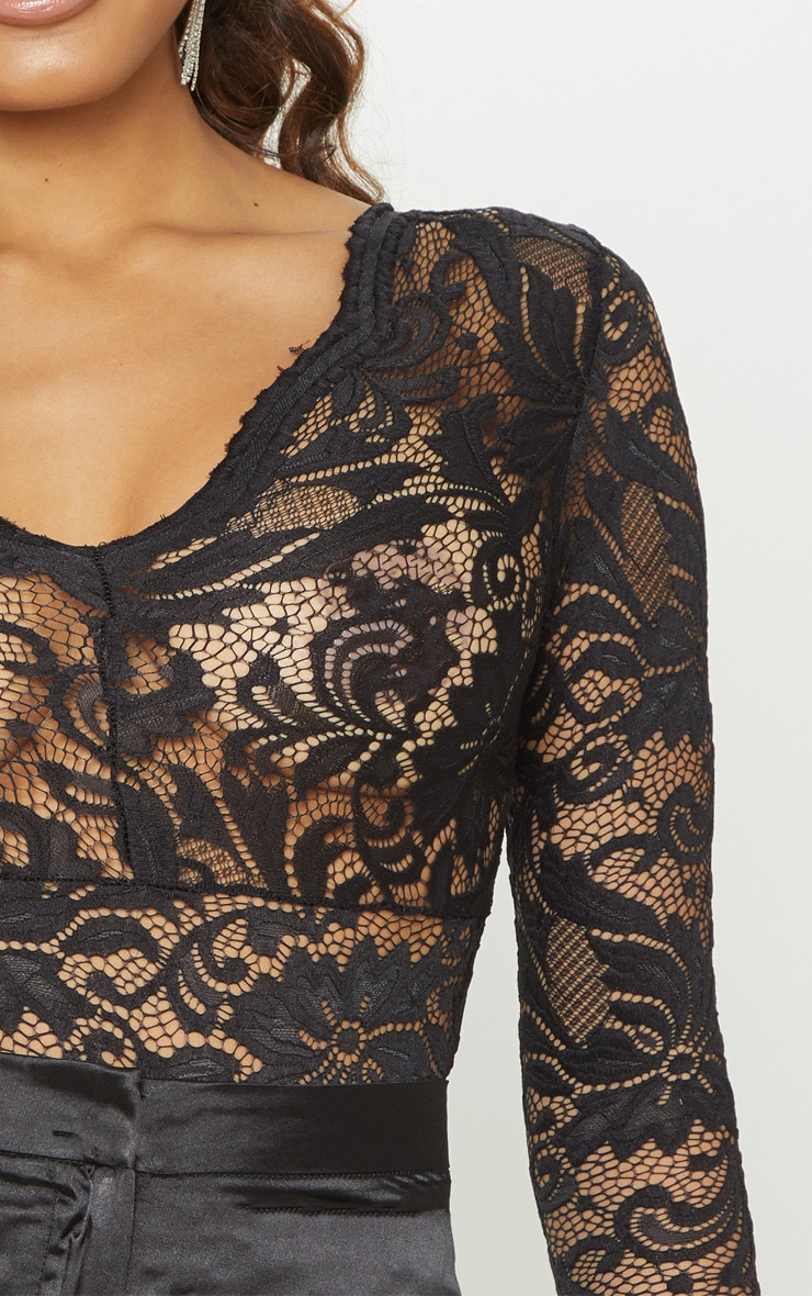 Tall Black Sheer Lace Long Sleeve Bodysuit 5