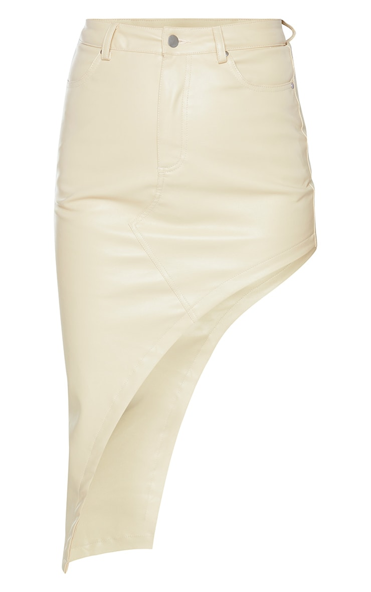 Cream Faux Leather Asymmetric Midi Skirt 5