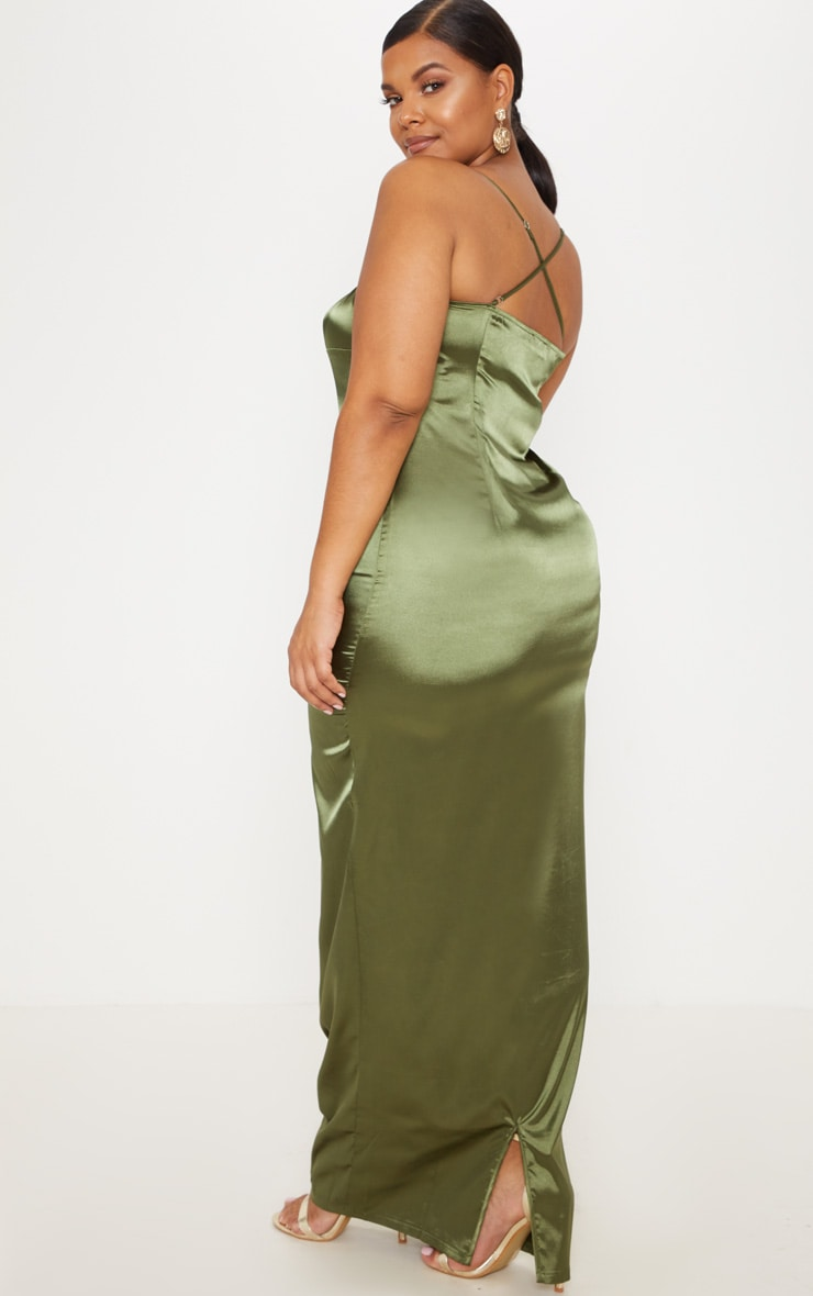 Plus Olive Green Satin Strappy Maxi Dress 2