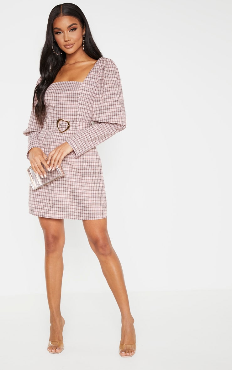 Pink Check Square Neck Puff Sleeve Belted Shift Dress 4