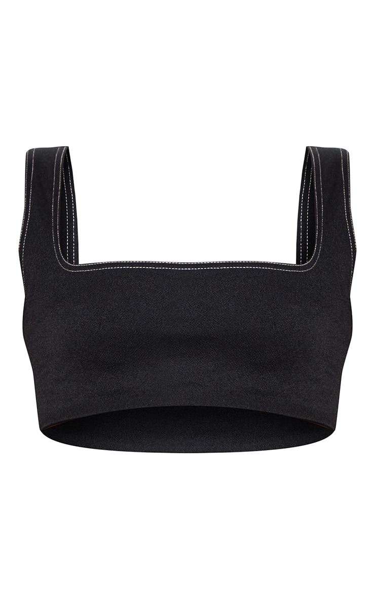 Black Contrast Stitch Square Neck Sleeveless Crop Top 3