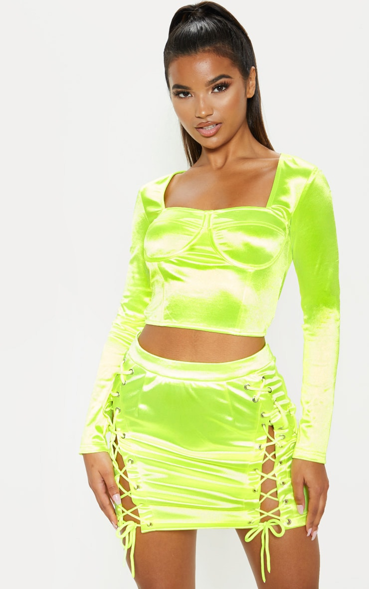 Neon Lime Satin Bust Detail Corset Top 1