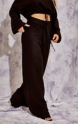 Recycled Black Knitted Wide Leg Pants 4