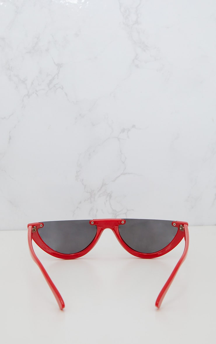 Red Rounded Half Frame Retro Sunglasses 4
