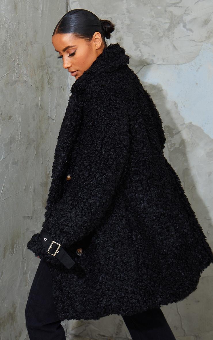 Black Curly Faux Fur Coat 2
