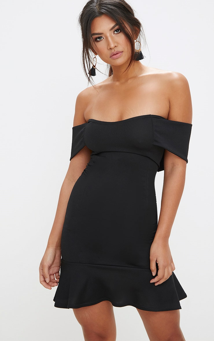 Black Bardot Frill Hem Bodycon Dress 1