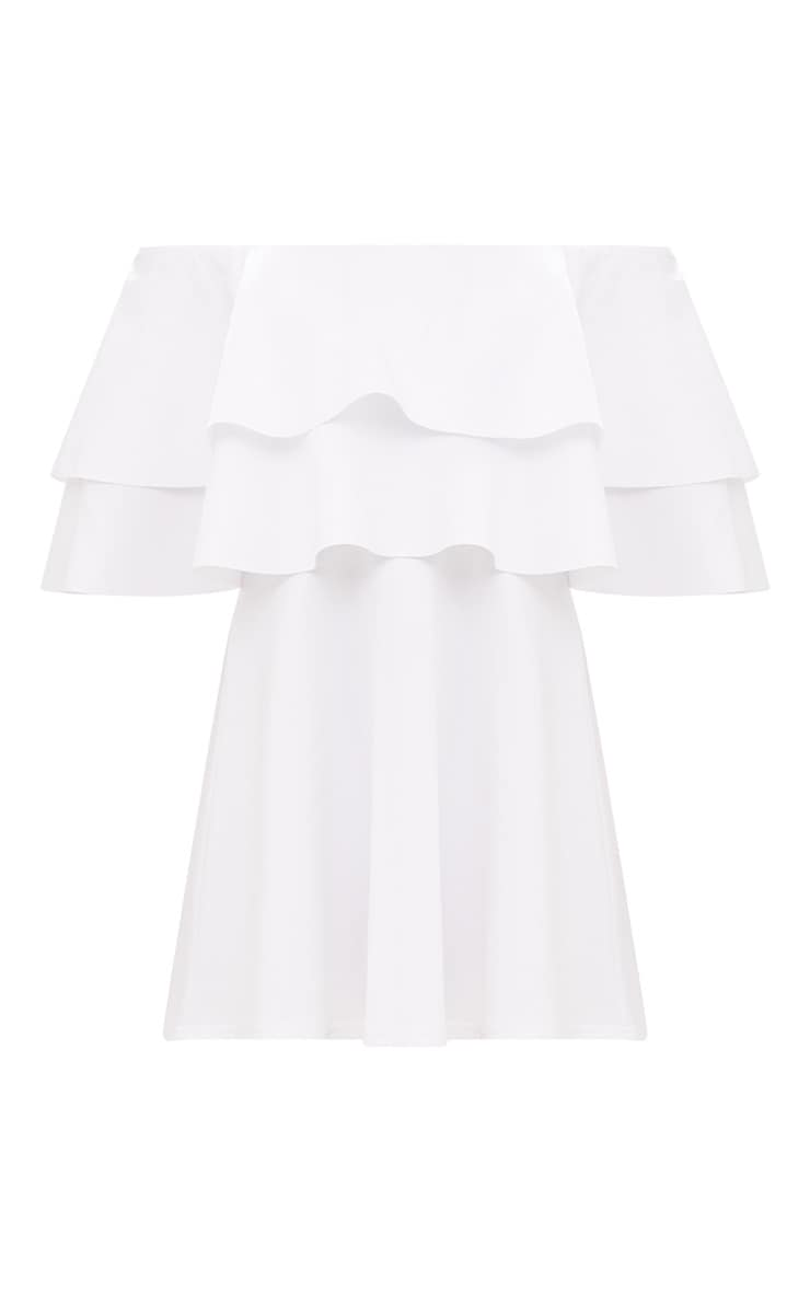 White Frill Bardot Skater Dress 3