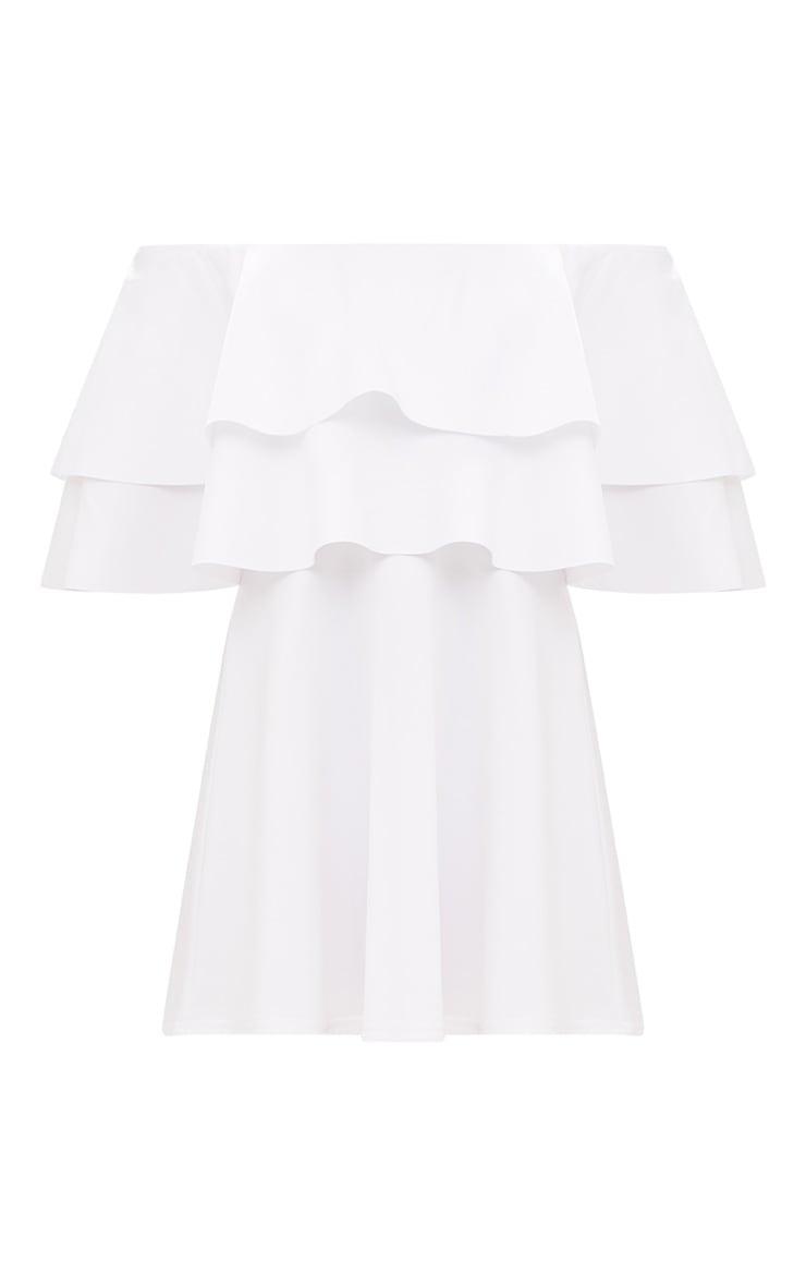 Robe patineuse bardot blanche à volants 3
