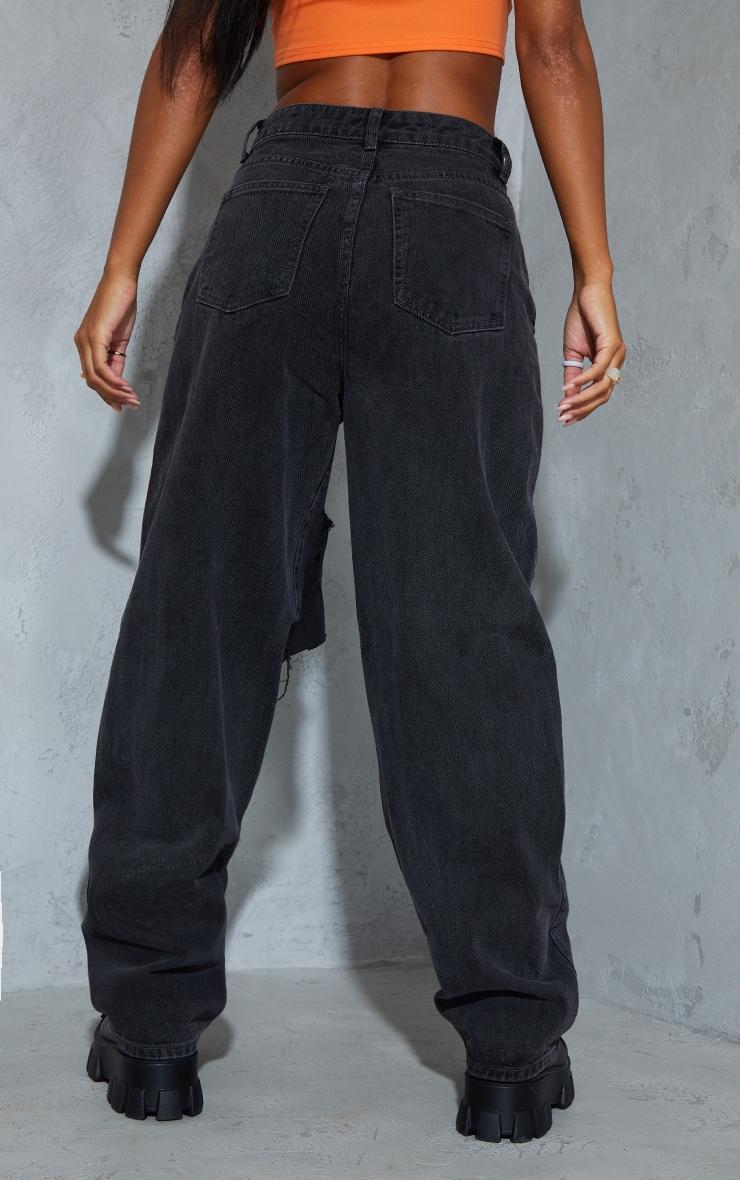 Washed Black Extreme Knee Rip Boyfriend Jeans 3