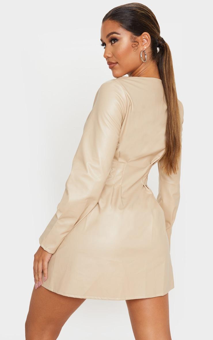 Stone Faux Leather Pleat Detail Long Sleeve Shift Dress 2