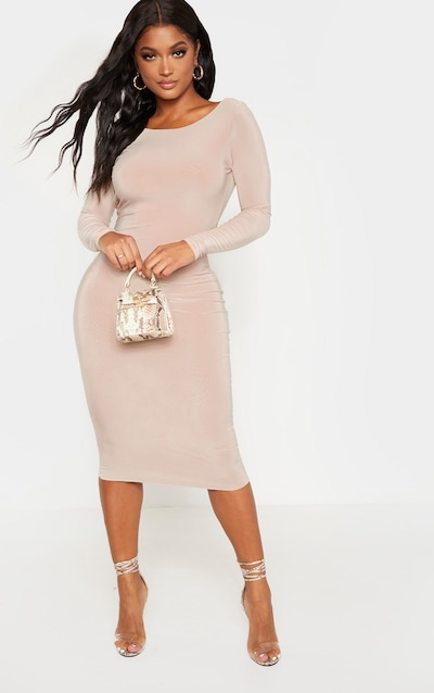 Shape Stone Slinky Long Sleeve Ruched Back Midi Dress