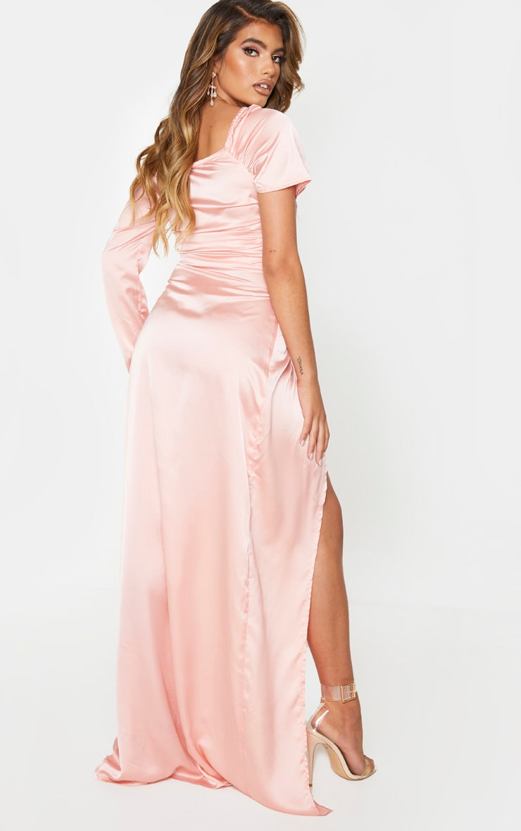 Peach Satin Bardot Maxi Dress 2