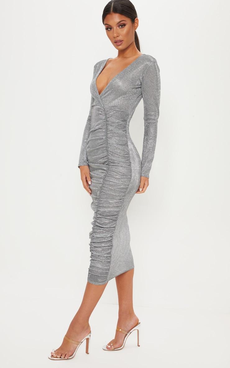Silver Glitter Plunge Ruched Midi Dress 4