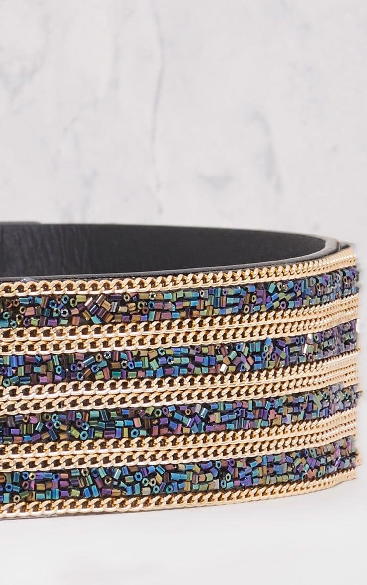 Selia Purple & Emerald Gold Chain Waist Belt 5