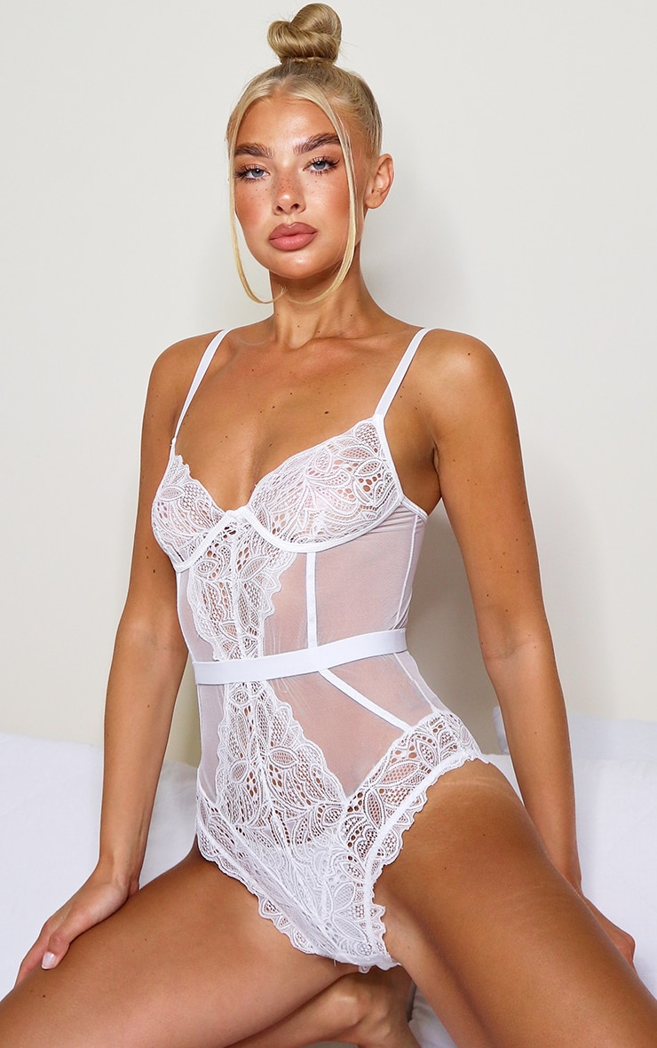 White Sheer Lace Panel Body 1