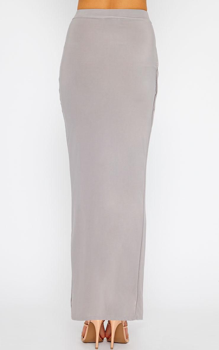 Ginevia Grey Slinky Split Hem Maxi Skirt 2