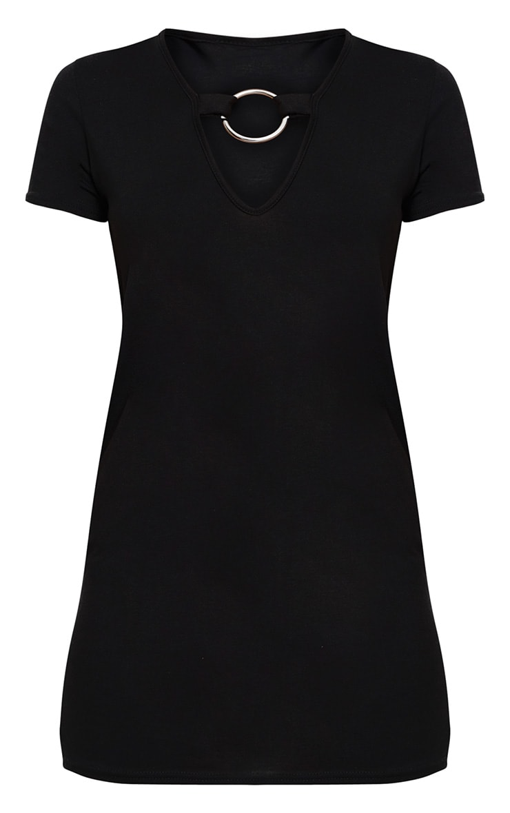 Petite Black O-Ring T-Shirt Dress 3