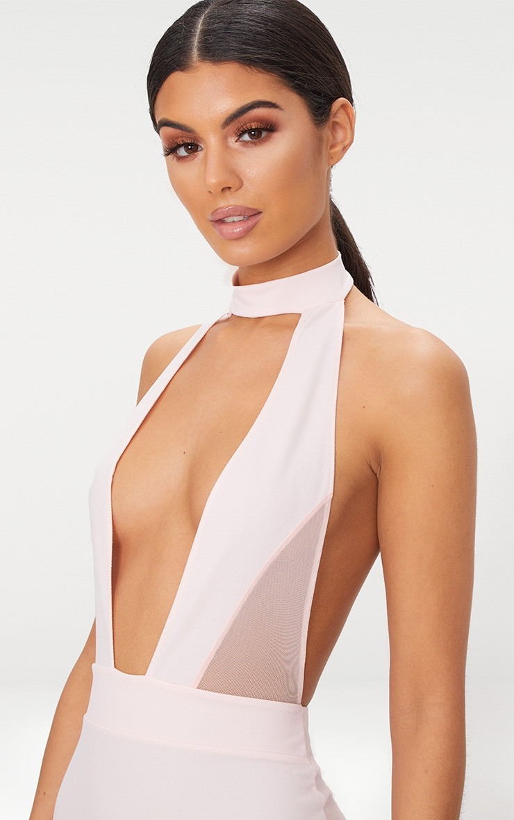 Stone Choker Mesh Detail Bodycon Dress 5