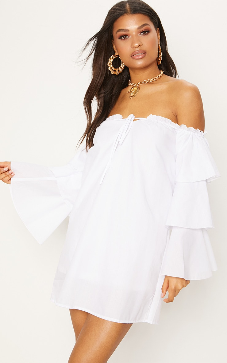 White Bardot Tiered Sleeve Shift Dress 1