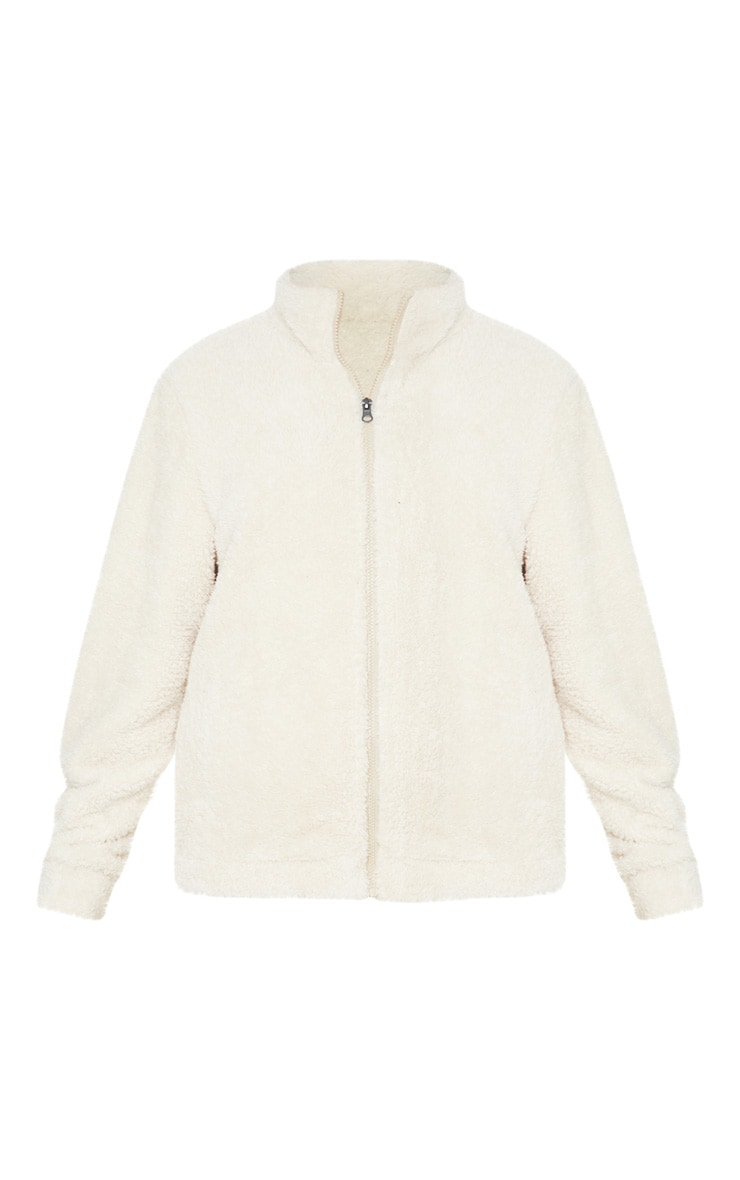 Cream Borg Funnel Neck Zip Front Sweater 3