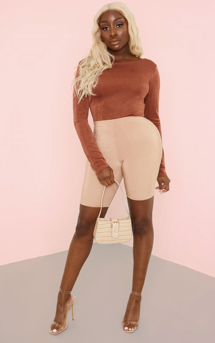 Rust Acetate Strappy Back Long Sleeve Bodysuit 3