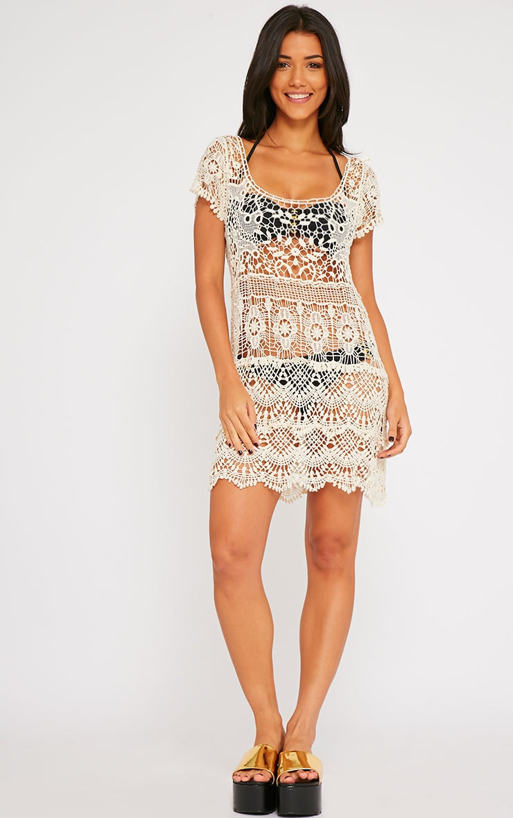 Raif Beige Crochet Dress 2