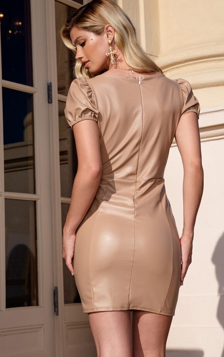 Taupe PU Puff Sleeve Bodycon Dress 2