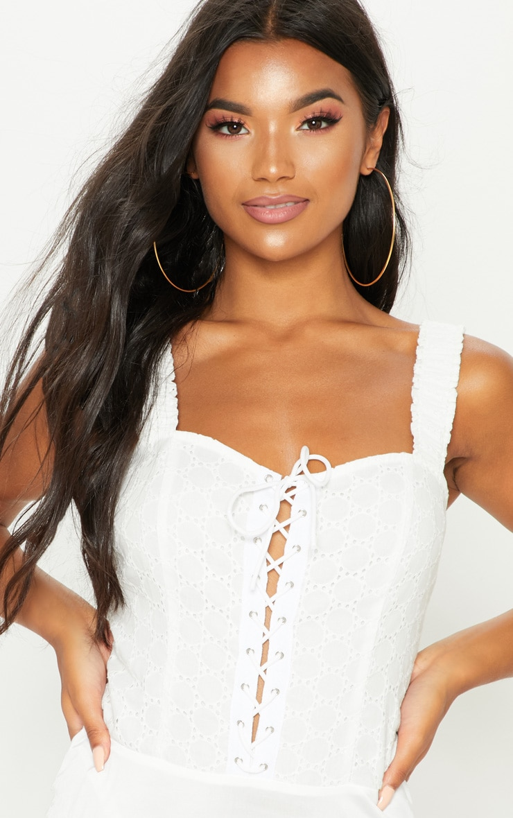 White Broderie Anglaise Lace Up Bodysuit 6