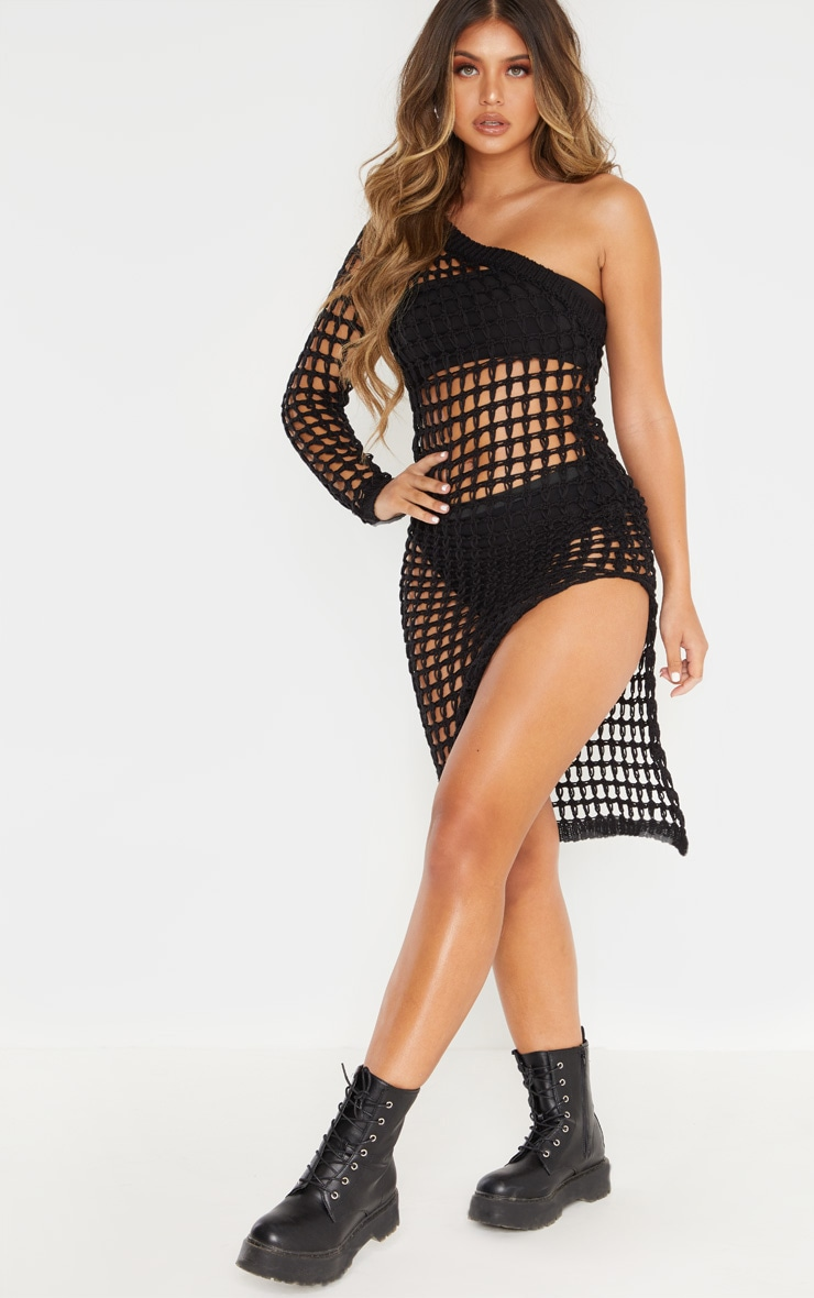Black Ladder Crochet Asymmetric Dress 1