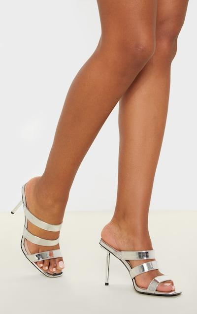 Silver Triple Strap Metal Heel Mule Sandal